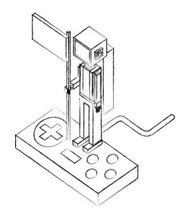 astronaut holding flag on the game control vector illustration sketch
