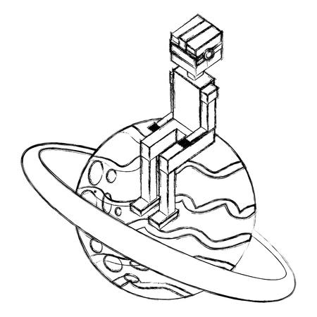boy using vr goggles sitting on 3d planet vector illustration sketch
