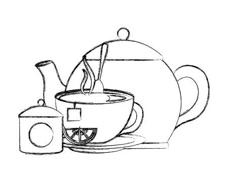 teapot cup spoon and bowl sugar lemon vector illustration sketch