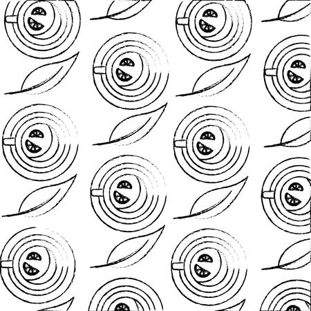 teacup with slice lemon beverage pattern design vector illustration sketch