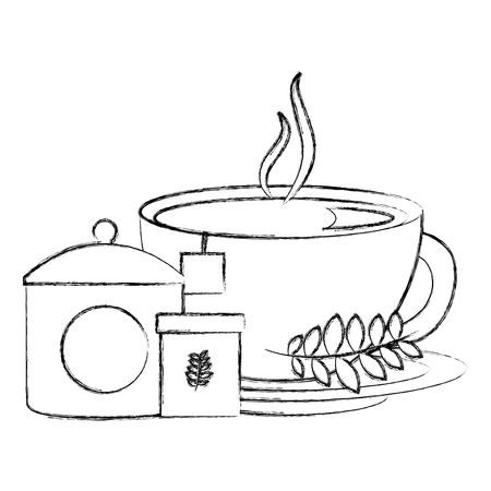 hot tea cup fresh beverage sugar teabag and mint leaves vector illustration sketch Illusztráció