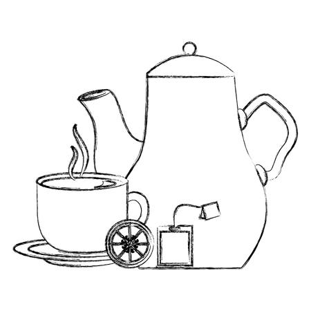 tea pot and cup lemon and teabag vector illustration sketch