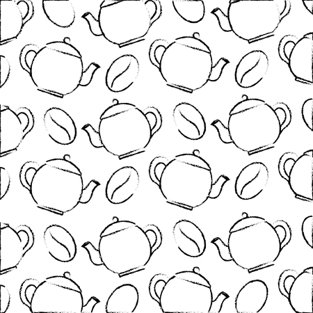 coffee maker and seeds fresh pattern design vector illustration sketch