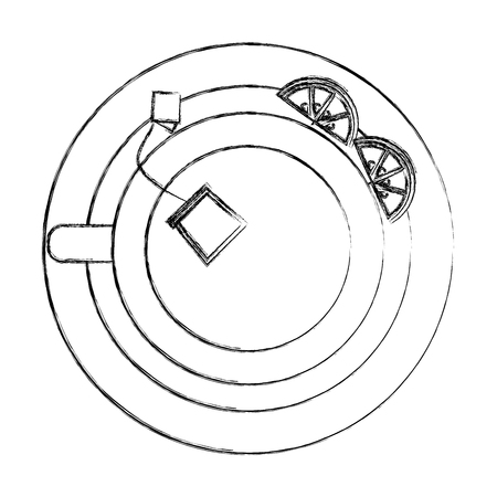 top view tea cup teabag and lemon on dish vector illustration sketch