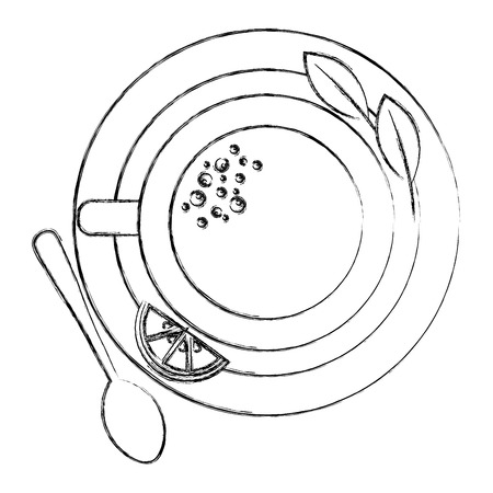 top view tea cup and lemon spoon mint on dish vector illustration sketch