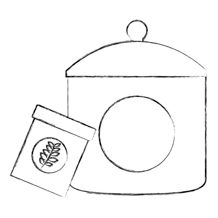 plastic container tea bag with cap kitchenware vector illustration sketch Illustration