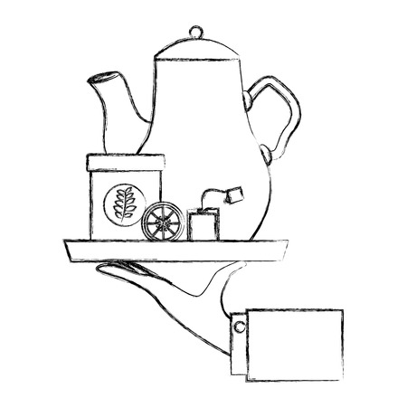 hand holding teapot and bowl lemon in tray vector illustration sketch 向量圖像