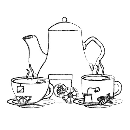 hand holding tea cup with dish vector illustration sketch
