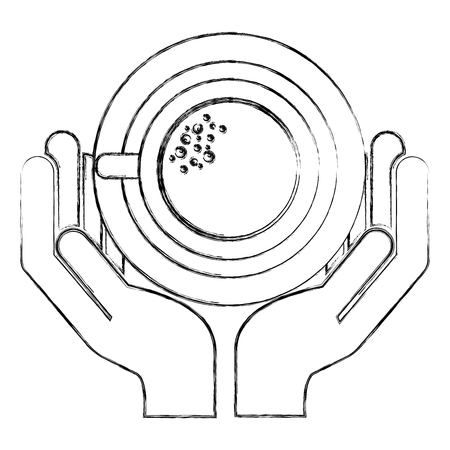 hand holding coffee cup with dish vector illustration sketch