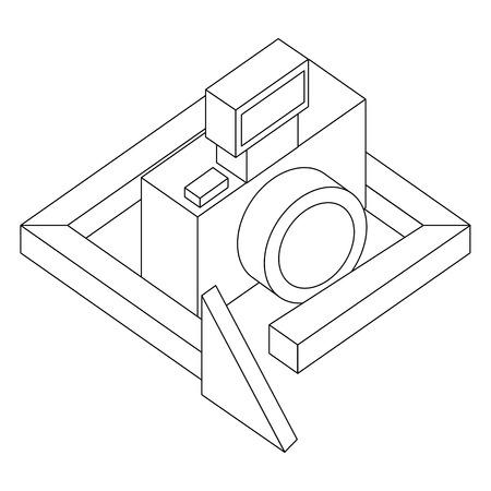 photograhic camera gadget 360 degree 3d vector illustration thin line