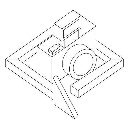 photograhic camera gadget 360 degree 3d vector illustration thin line