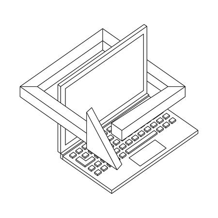 laptop computer technology 360 degree arrow vector illustration thin line 向量圖像