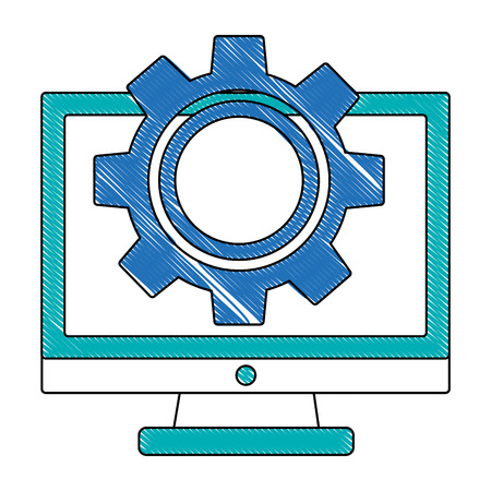 monitor computer with gear isolated icon vector illustration design 向量圖像