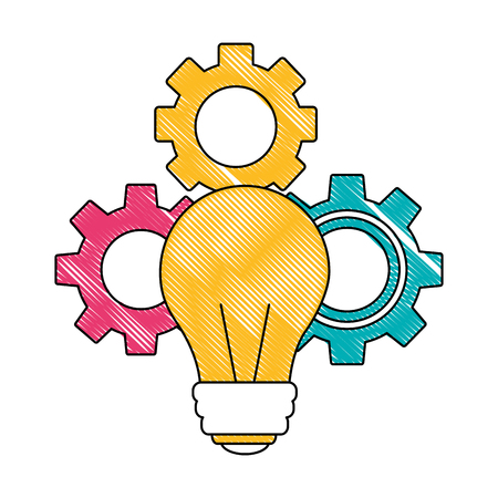 light bulb with gears isolated icon vector illustration design Illustration