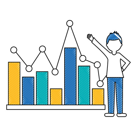 young man with statistical graphics isolated icon vector illustration design