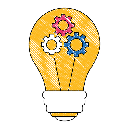 light bulb with gears isolated icon vector illustration design Ilustração