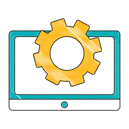 tablet device with gear isolated icon vector illustration design 版權商用圖片 - 102974458