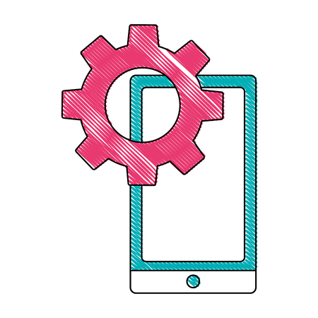 smartphone device with gear isolated icon vector illustration design