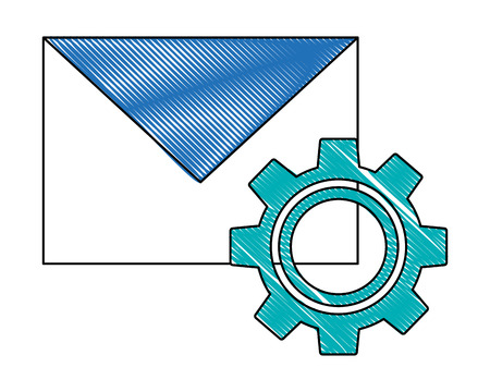 envelope mail with gear isolated icon vector illustration design Foto de archivo - 102974473