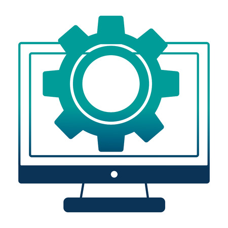 monitor computer with gear isolated icon vector illustration design Illustration