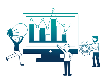 people with monitor and statistical graphics vector illustration design