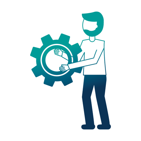 young man with gear isolated icon vector illustration design Standard-Bild - 102974491