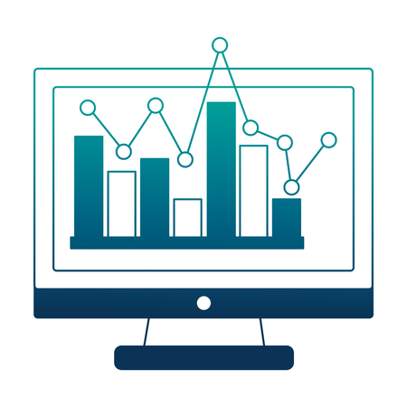 monitor computer with statistical graphics isolated icon vector illustration design Ilustração