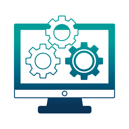 monitor computer with gears isolated icon vector illustration design Ilustração