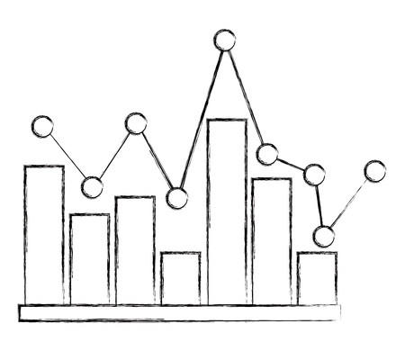 statistic bar graph pointed line image vector illustration sketch