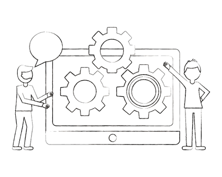 people tablet computer gear teamwork vector illustration sketch Ilustração