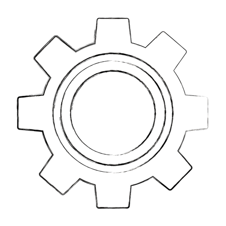 gear setting work cooperation image vector illustration sketch