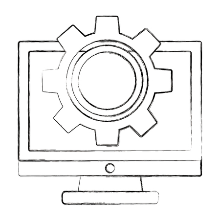 monitor computer setting work image vector illustration sketch