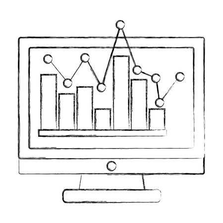 computer screen statistic bar graph pointed line vector illustration sketch