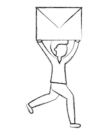 man running with envelope email work vector illustration sketch Stock Illustratie
