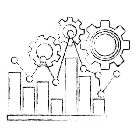 statistic bar graph pointed line and gears teamwork vector illustration sketch