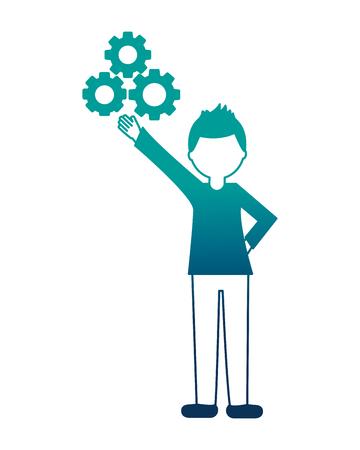 man with gears work innovation teamwork vector illustration neon design Illustration