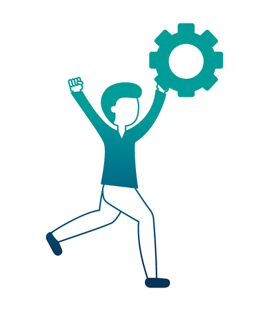 man with gear work innovation teamwork vector illustration neon design