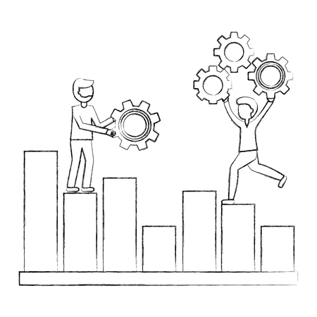 people on statistic business diagram with gears teamwork vector illustration sketch