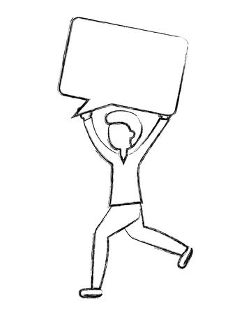 man holding speech bubble up vector illustration sketch