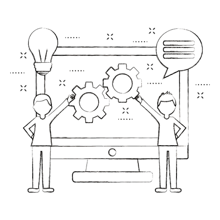 people holding gears and computer speech bubble teamwork vector illustration sketch