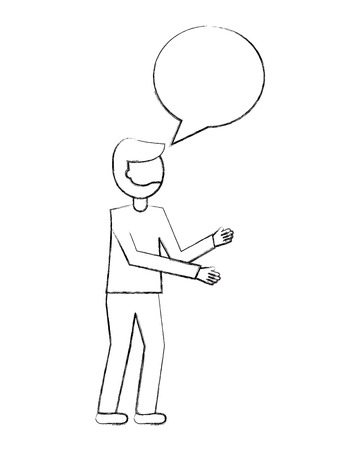man with speech bubble talk vector illustration sketch Illusztráció