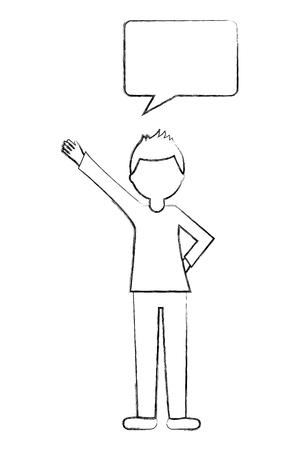 man with speech bubble talk vector illustration sketch Ilustração