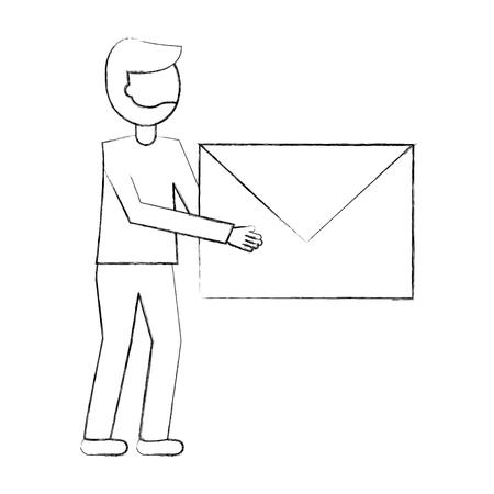 businessman holding envelope message mail vector illustration sketch
