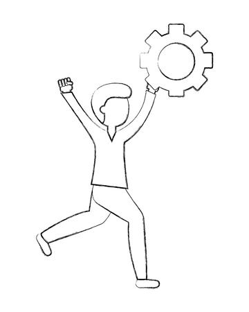 man with gear work innovation teamwork vector illustration sketch