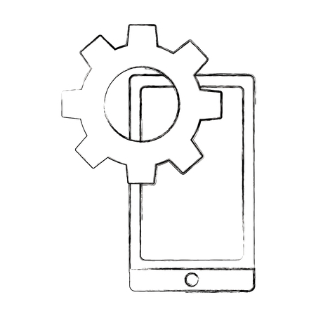 mobile gear setting on screen work vector illustration sketch