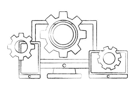 computer smartphone and tablet gears teamwork vector illustration sketch