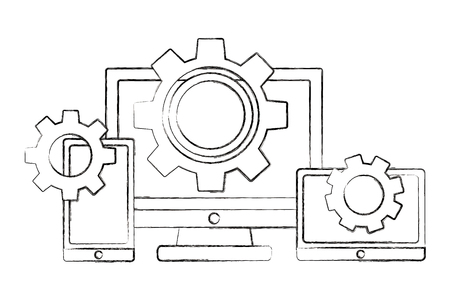 computer smartphone and tablet gears teamwork vector illustration sketch