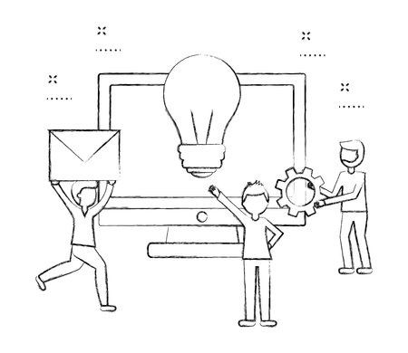 businesspeople with envelope idea gear and computer teamwork vector illustration sketch