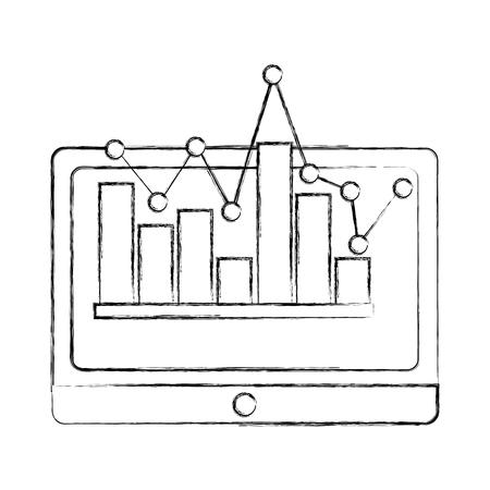 tablet with statistics diagram chart financial vector illustration sketch