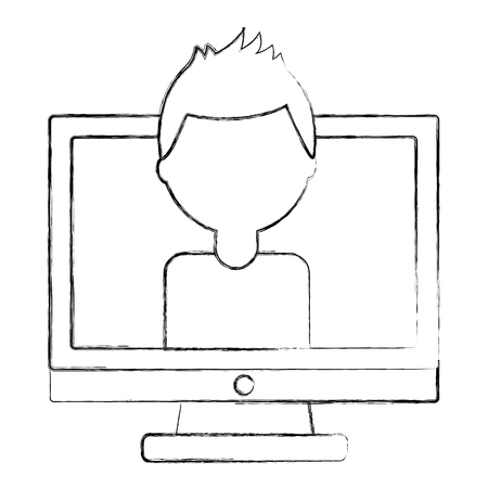 man character in screen computer vector illustration sketch Illustration